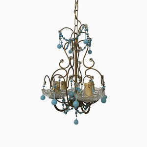 Vintage Italian Chandelier with Opaline and Murano Glass Drops