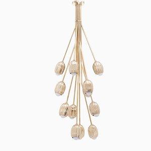 Poppy V. Wachsausschmelz Hängelampe aus Messingguss mit 12 Leuchten von Fred&Juul
