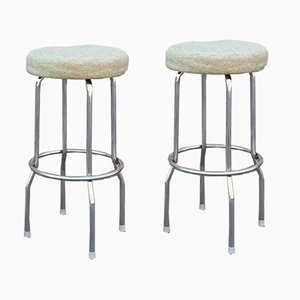 Bar Stools in Steel & Green Wool by Börje Johanson, 1970s, Set of 2