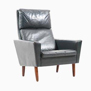Danish Dark Green Leather Lounge Chair, 1960s