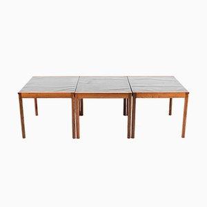 Mesas de centro danesas de palisandro, años 60. Juego de 3