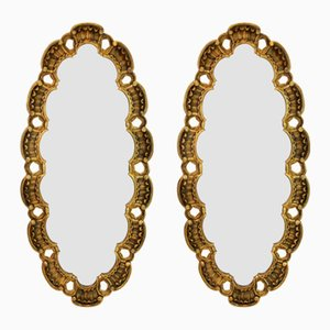 Mid-Century Gilt Wood Mirrors, Set of 2