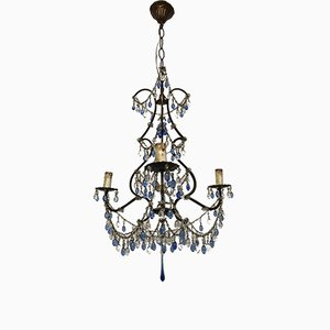 Vintage Italian Crystal Chandelier with Murano Glass Blue Pendants