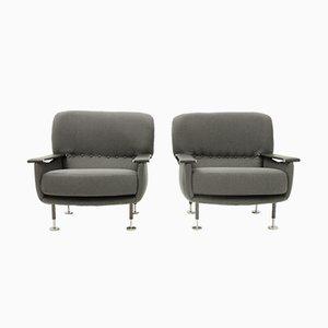 Italienische graue Armlehnstühle, 1950er, 2er Set