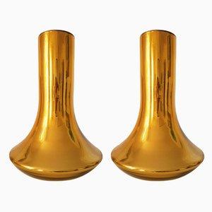 Vasi grandi in vetro di Murano dorato, anni '80, set di 2