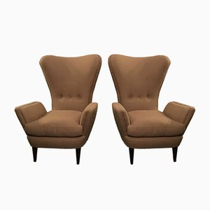 Brown Fabric Easy Chairs, 1950s, Set of 2