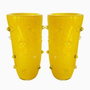 Vasi in vetro di Murano giallo, anni '80, set di 2