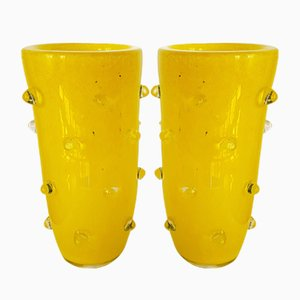 Yellow Murano Glass Vases, 1980s, Set of 2