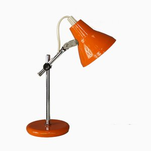 Small Orange Chromed Metal Desk Lamp, 1950s
