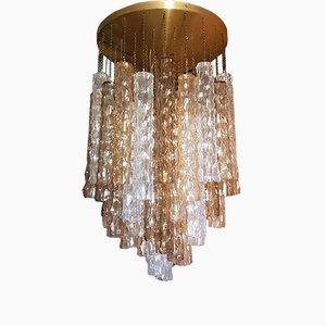 Plafón grande en forma de bambú de cristal de Murano de Mazzega, años 70