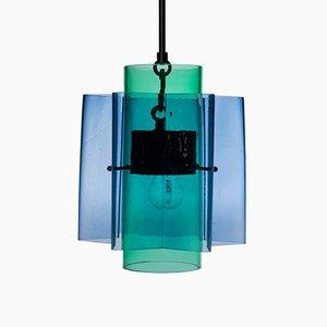 Lampadario Petrona a stella in vetro blu e verde di Fred&Juul