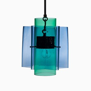Petrona Star-Shaped Pendant Light in Blue and Green Mouthblown Glass by Fred&Juul