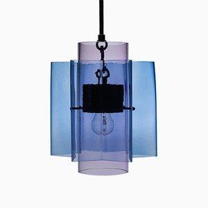 Lampadario Petrona a stella in vetro blu e viola di Fred&Juul
