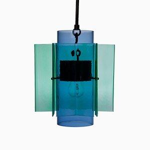 Lámpara colgante Petrona de vidrio soplado verde y azul con forma de estrella de Fred&Juul