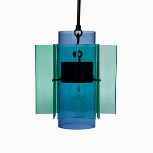Petrona Star-Shaped Pendant Light in Green and Blue Mouthblown Glass by Fred&Juul