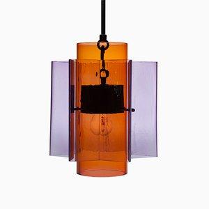 Lampadario Petrona a stella in vetro rosso e viola di Fred&Juul