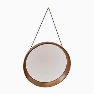 Mid-Century Circular Teak Mirror with Leather Strap by Pedersen & Hansen