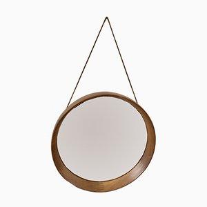 Mid-Century Circular Teak Mirror with Leather Strap by Pedersen & Hansen