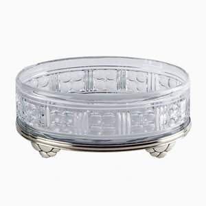 Belgian Art Déco Bowl in Crystal on a Silver Base from Val-Saint-Lambert & Delheid