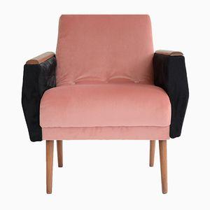 Quadratischer Vintage Sessel aus Samt in Pink & Schwarz