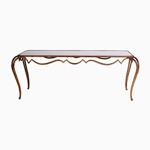 Vintage Gilt Wrought Iron & Black Opaline Glass Coffee Table by René Drouet