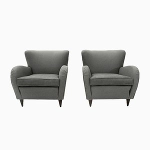 Italian Mid-Century Gray Armchairs, 1950s, Set of 2