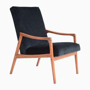 Vintage Sessel aus schwarzem Samt mit tropischem Stoff rückseitig, 1960er