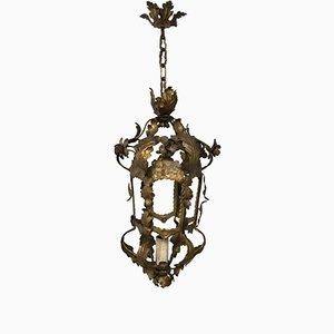 Italian Gold Gilded Ceiling Lamp, 1940s