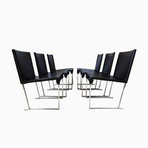 Maxalto Solo Esszimmerstühle aus schwarzem Leder von Antonio Citterio für B&B Italia, 2006, 6er Set