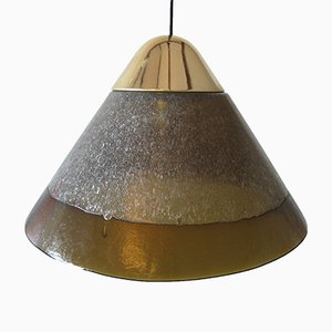 Vintage Hollywood Regency Brass and Glass Pendant Lamp from Peill & Putzler