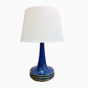 Dänische Mid-Century Tischlampe aus blauer Keramik von Axella für Tromborg, 1970er