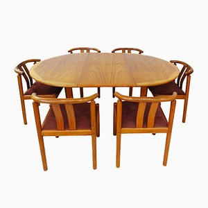 Mid-Century Danish Dining Chairs and Extending Table in Teak