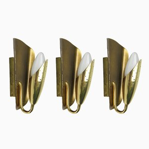 Italian Wall Lights in Brass, 1950s, Set of 3