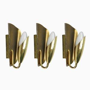 Italienische Messing Wandlampen, 1950er, 3er Set