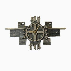 Reloj de pared Steel Art de acero inoxidable de Olav Joa para Polaris, años 70