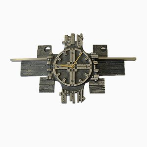 Steel Art Wall Clock in Stainless Steel by Olav Joa for Polaris, 1970s