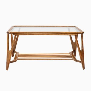 Mid-Century Italian Walnut Coffee Table by Cesare Lacca, 1950s