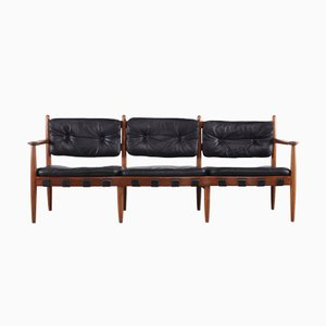 Vintage Scandinavian Black Leather Bench by Eric Merthen