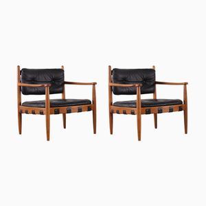 Vintage Scandinavian Black Leather Chairs by Eric Merthen, Set of 2
