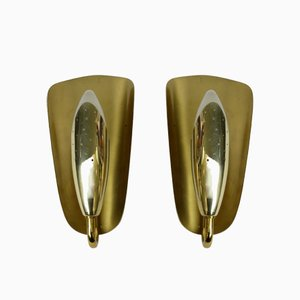 Brass Wall Lights, 1950s, Set of 2