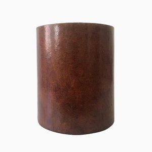 Papelera vintage de cuero, años 60