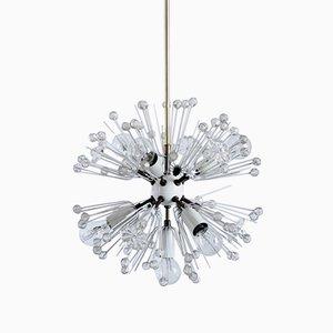 Lámpara de araña Dandelion vintage de latón y vidrio de Emil Stejnar para Rupert Nikoll