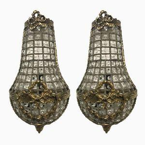 Vintage Italian Crystal Beaded Sconces, Set of 2