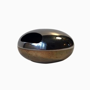 Vintage Ashtray in Brass & Steel from Georg Jensen, 1970s