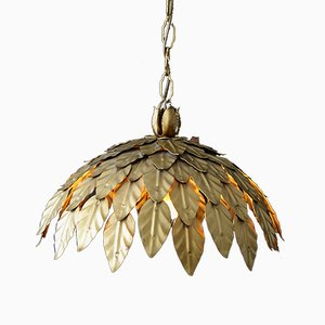 Mid-Century Pendant with Gold Leaves