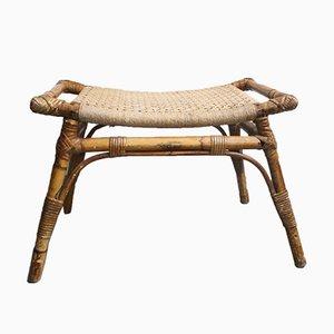 Vintage Bambus Hocker mit geflochtenem Sitz