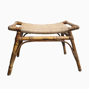 Vintage Woven Bamboo Stool