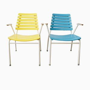 Mid-Century Outdoor Stackable Armchairs, Set of 2