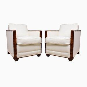 Art Deco Walnuss Sessel, 1930er, 2er Set