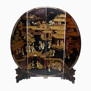 Vintage Round Black Lacquered Screen